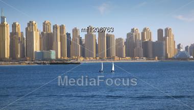Dubai Marina Panoramic View From Gulf Stock Photo