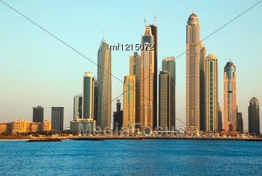 Dubai Marina Skyscrapers. View From Sea Stock Photo
