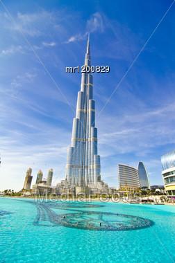 DUBAI, UAE - JANUARY 4: Burj Khalifa, World's Tallest Tower, Downtown Burj Dubai January 4, 2012 In Dubai, United Arab Emirates. Stock Photo