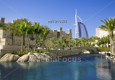 DUBAI, UAE - MARCH 08: Burj Al Arab Hotel On March 08, 2012 In Dubai. Burj Al Arab Is A Luxury And The Fourth Tallest Hotel In The World. Architect Tom Wright. View From Madinat Jumeirah, Largest Reso Stock Photo