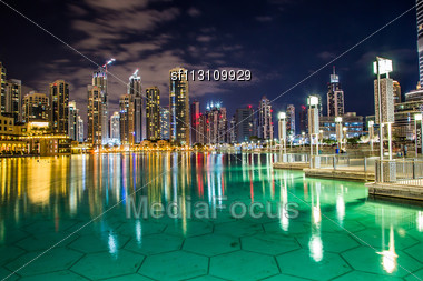 DUBAI, UAE - NOVEMBER 13: Dubai Downtown Night Scene With City Lights, Luxury New High Tech Town In Middle East, United Arab Emirates Architecture Stock Photo
