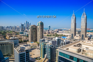 DUBAI, UAE - NOVEMBER 13: Modern Skyscrapers In Dubai (emirate And City), UAE. Dubai Now Boasts More Completed Skyscrapers Higher Than 0,8 - 0,25 Km Than Any Other City. Dubai Is The Most Expensive Ci Stock Photo