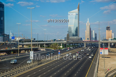 DUBAI, UAE - NOVEMBER 14: The Development Of The Sheikh Zayed Road On November 14, 2012 In Dubai, UAE. Dubai Was The Fastest Developing City In The World Between 2002 And 2008, Development Is Still Bu Stock Photo