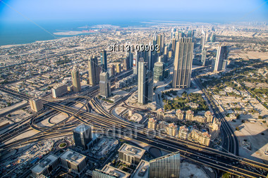 DUBAI, UAE - NOVEMBER 14 : Dubai Downtown Day Scene With City Lights, Luxury New High Tech Town In Middle East, United Arab Emirates Architecture Stock Photo