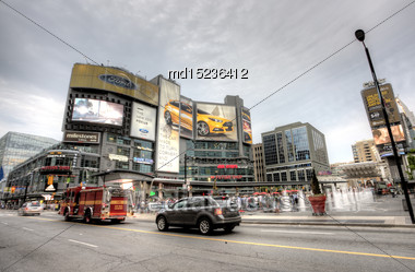 Dundas Square Yonge Street Toronto Busy Intersection Stock Photo