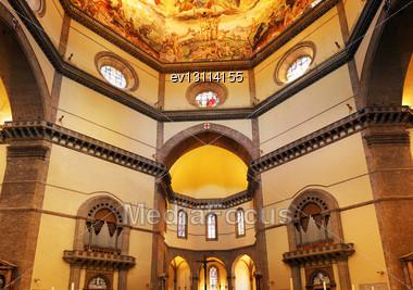 Duomo Santa Maria Del Fiore And Campanile. Florence. Inside Interior. Italy Stock Photo