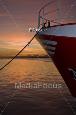 Dusk Is A Mediterranean Port, The Sky Turns Red Stock Photo