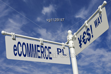 """E-commerce Place And """"yes"""" Way Road Sign Over Blue Sky,conceptual Word """"yes"""" Made Of Yen,euro And Dollar Symbols Stock Photo"""