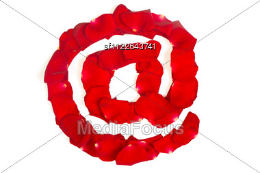 E-mail Symbol Made From Red Petals Rose Isolated Stock Photo