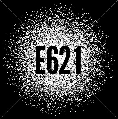 E621 Monosodium Glutamate White Powder. Vector Illustration On Black Background Stock Photo
