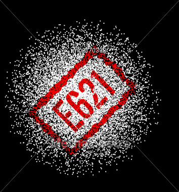 E621 Monosodium Glutamate White Powder. Vector Illustration On Black Background Stock Photo