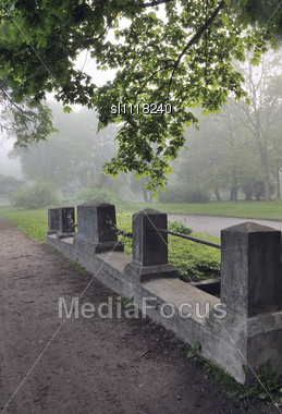 Early Spring Morning In City Park. The Morning Fog Creates Mystical Mood Stock Photo