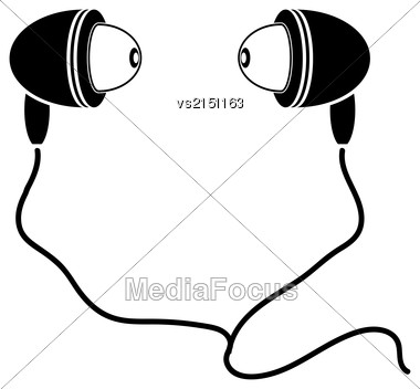 Earphones Silhouette Isolated On White Background. Earphone Symbol Stock Photo