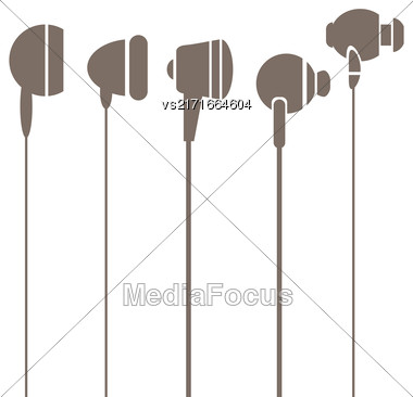 Earphones Silhouettes Icons Isolated On White Background Stock Photo