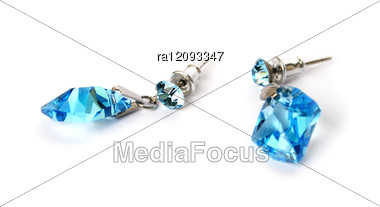 Earrings With Blue Stones Stock Photo
