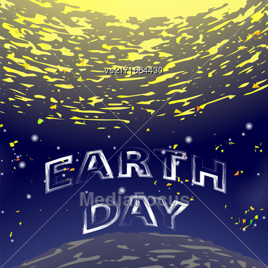 Earth Day Text On Starry Space Background. Sun Rays In Blue Sky Stock Photo