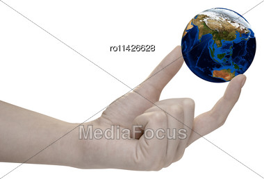 Earth In Hand On White Background Stock Photo