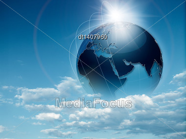 Earth In The Skies, Abstract Travel And Environmental Backgrounds Stock Photo