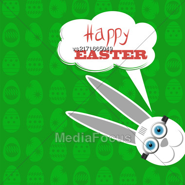 Easter Bunny. Greeting Card With White Easter Rabbit Stock Photo
