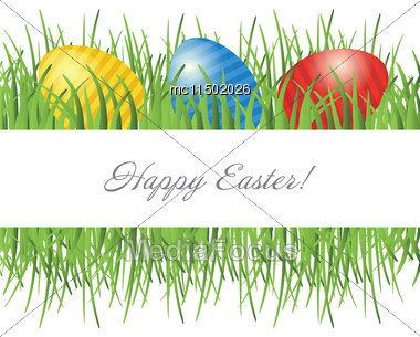 Easter Card With Eggs On Green Grass And Place For Your Text Stock Photo