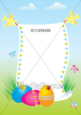 Easter Card Template With Colored Eggs.Vector Background Stock Photo