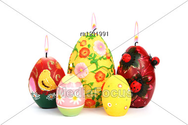Easter Colorful Candle Eggs Stock Photo