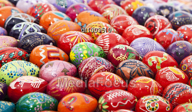 Easter Colorful Eggs. Art Background, Eastern Europe Stock Photo