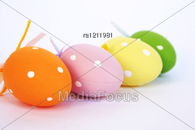 Easter Colorful Eggs Isolated On Gray Background. Stock Photo