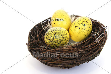 Easter Colorful Eggs Nest Stock Photo