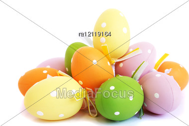 Easter Colorful Eggs Stock Photo