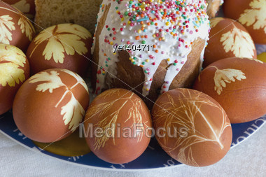 Easter Eggs And Sugar Pie Stock Photo