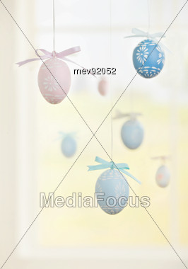 Easter Eggs Decorations On Strings Stock Photo