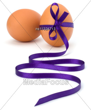 Easter Eggs With Festive Bow Isolated On White Background Stock Photo