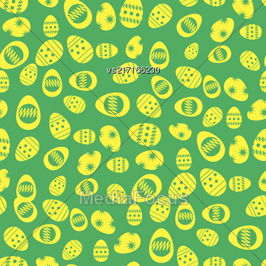 Easter Eggs Greeting Card On Green Background. Seamless Pattern Stock Photo