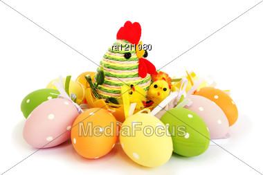 Easter Eggs Nest Stock Photo