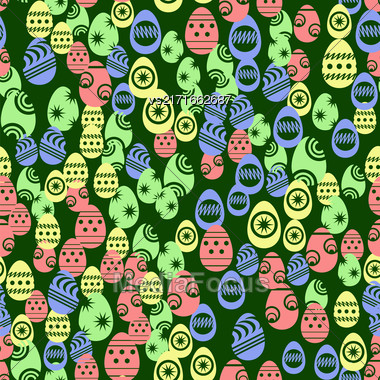 Easter Eggs Seamless Pattern On Green Background Stock Photo