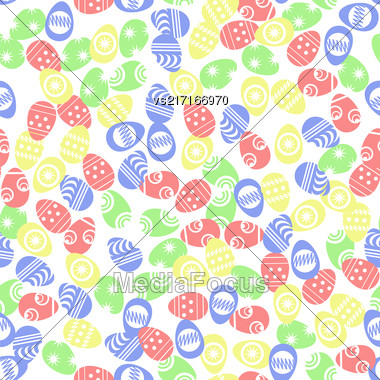 Easter Eggs Seamless Pattern On White Background Stock Photo