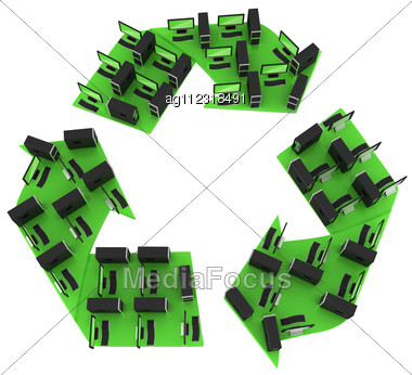 Eco-friendly Computers - Recycling PC Concept Stock Photo