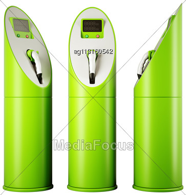 Eco Fuel And Energy: Three Charging Stations For Vehicles Over White Stock Photo