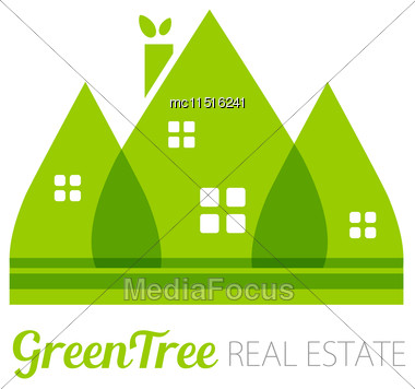Eco House With Green Leaves. House Logo. Ecological House Icon Stock Photo