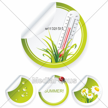 Eco Sticker Collection With Flowers And Water Drops Stock Photo