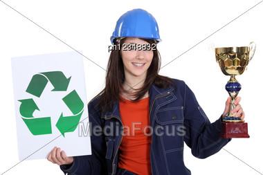 Ecologist Stood With Award Stock Photo