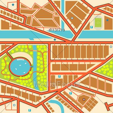 Editable Seamless Tile Of A Generic City Map - Stock Image RL1131719