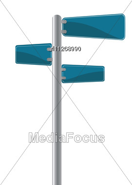 Editable Street Signs Over White Stock Photo