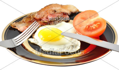 Egg And Bacon On White Background Stock Photo