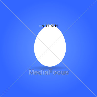 Egg Icon. Flat Design Style White Whole Egg On Blue Background Stock Photo