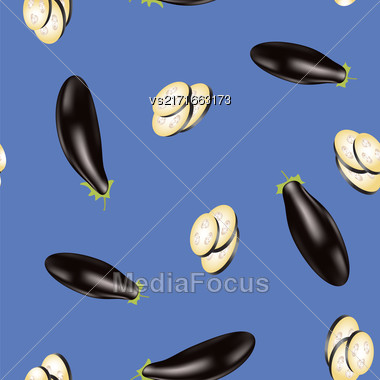 Eggplant Seamless Pattern Isolated On Blue Background Stock Photo