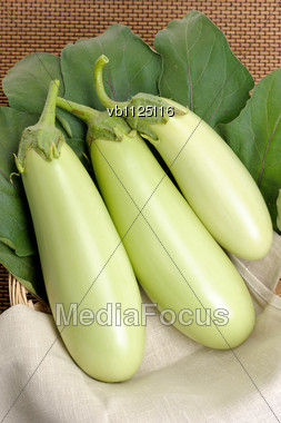 Eggplants Of Green Colour On A Napkin On Leaves Stock Photo