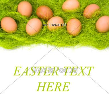 Eggs Border Isolated On White Background Stock Photo