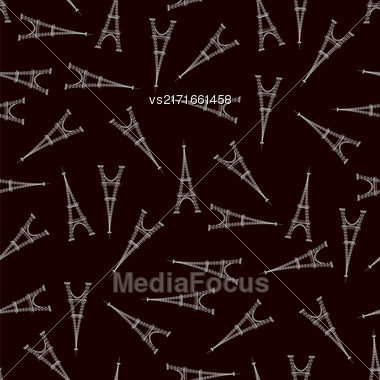 Eifel Tower Silhouette Seamless Pattern On Black Background Stock Photo